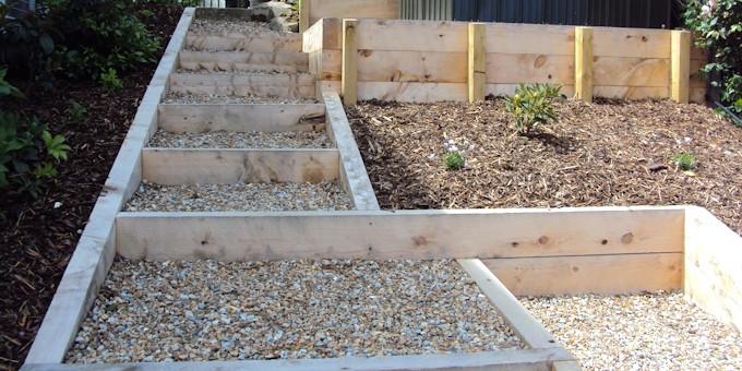 wooden garden steps